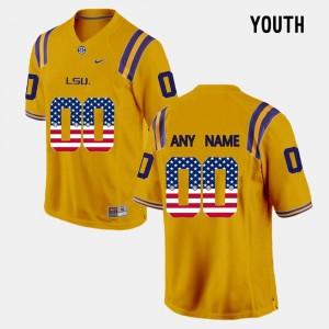 US Flag Fashion Youth(Kids) Louisiana State Tigers Custom Jersey Gold #00