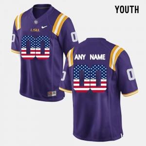 Purple Youth(Kids) #00 US Flag Fashion LSU Customized Jerseys
