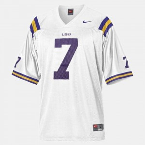 #7 For Men's College Football White Patrick Peterson LSU Tigers Jersey