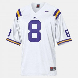 College Football #8 Youth Zach Mettenberger Louisiana State Tigers Jersey White