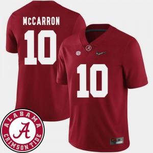 College Football 2018 SEC Patch AJ McCarron Alabama Jersey Men Crimson #10