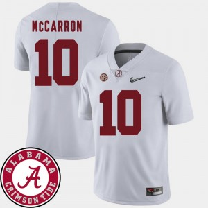 White #10 2018 SEC Patch College Football AJ McCarron Alabama Crimson Tide Jersey For Men's
