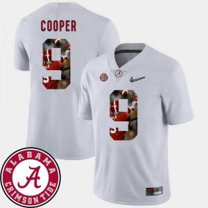Amari Cooper Alabama Crimson Tide Jersey Mens White #9 Pictorial Fashion Football