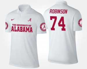 Men #74 Cam Robinson University of Alabama Polo Name and Number White