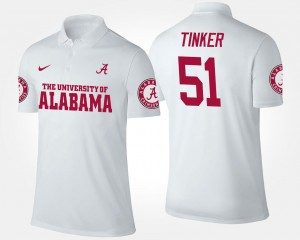 #51 For Men's Carson Tinker Bama Polo White Name and Number