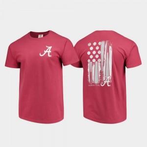 Baseball Flag Crimson Mens University of Alabama T-Shirt Comfort Colors