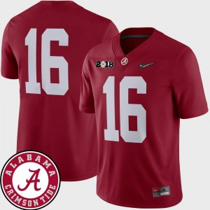 #16 2018 National Championship Playoff Game College Football For Men's Crimson Alabama Crimson Tide Jersey