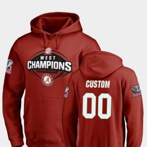 Crimson #00 Men Bama Custom Hoodies Fanatics Branded Football 2018 SEC West Division Champions
