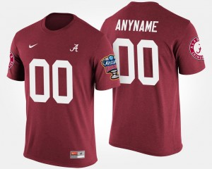 Bowl Game Men's Sugar Bowl Name and Number T shirt #00 Bama Custom T-Shirt Crimson