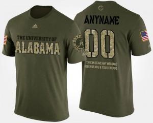 Military Short Sleeve With Message Camo University of Alabama Customized T-Shirt #00 Mens