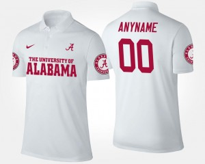White For Men's Alabama Custom Polo Name and Number #00