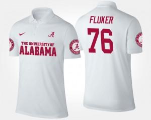 White #76 Name and Number D.J. Fluker Bama Polo For Men's