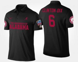 Ha Ha Clinton-Dix Alabama Crimson Tide Polo Black For Men's #6 Bowl Game Sugar Bowl Name and Number