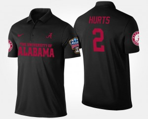 Jalen Hurts Bama Polo Black Bowl Game Sugar Bowl Name and Number #2 For Men's