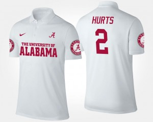 Jalen Hurts Bama Polo White Name and Number #2 Men's