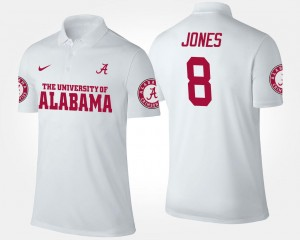 Julio Jones Bama Polo White Name and Number #8 For Men