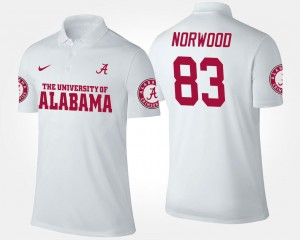 #83 Name and Number Kevin Norwood Alabama Polo White For Men's