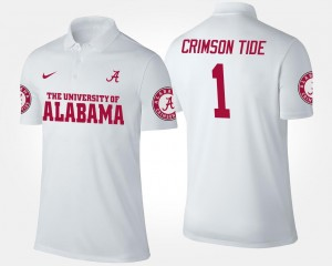 White Bama Polo #1 Men's No.1 Short Sleeve Name and Number