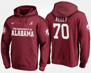#70 Crimson Ryan Kelly Bama Hoodie Name and Number For Men's