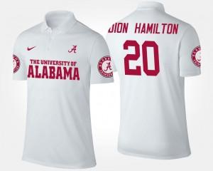 For Men White Name and Number #20 Shaun Dion Hamilton Alabama Polo
