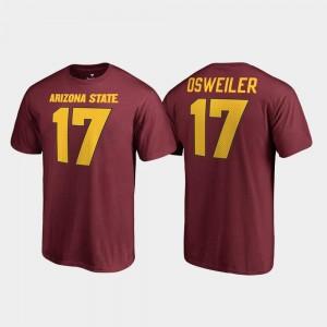 Maroon College Legends Brock Osweiler Arizona State University T-Shirt #17 Men's Name & Number