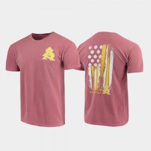 Comfort Colors Sun Devils T-Shirt Mens Baseball Flag Maroon