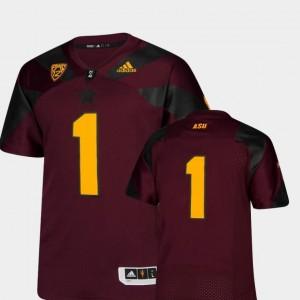Arizona State University Jersey Premier Adidas Maroon #1 College Football Men's