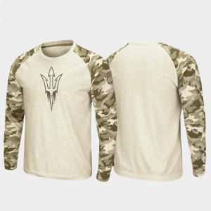 OHT Military Appreciation Raglan Long Sleeve Arizona State University T-Shirt Oatmeal Men
