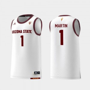 #1 Mens Remy Martin Arizona State Jersey College Basketball White Replica
