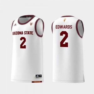 #2 College Basketball Mens Replica Rob Edwards Arizona State Sun Devils Jersey White