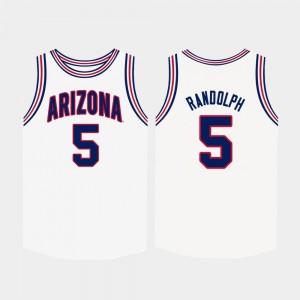 For Men #5 College Basketball White Brandon Randolph University of Arizona Jersey