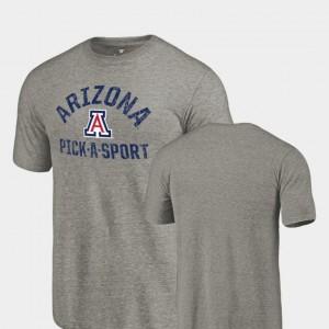 Mens Arizona Wildcats T-Shirt Tri Blend Distressed Pick-A-Sport Gray
