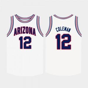 Justin Coleman Arizona Jersey #12 Mens White College Basketball