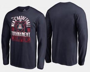 Navy Arizona Wildcats T-Shirt Mens 2018 Pac 12 Champions Long Sleeve Basketball Conference Tournament
