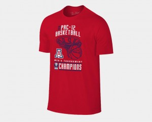 2018 Pac 12 Champions Locker Room University of Arizona T-Shirt Red Basketball Conference Tournament For Men's