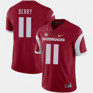 For Men's A.J. Derby Arkansas Razorbacks Jersey Cardinal #11 College Football Nike