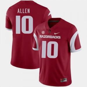 College Football #10 Men Cardinal Nike Brandon Allen Arkansas Jersey