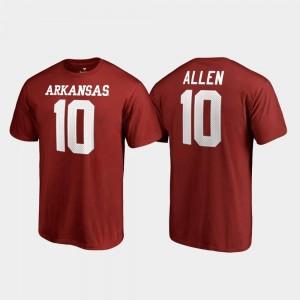 Name & Number Mens Cardinal #10 Brandon Allen Arkansas Razorbacks T-Shirt College Legends
