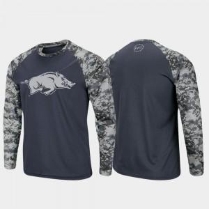 OHT Military Appreciation Raglan Long Sleeve Digi Camo Men Charcoal Camo University of Arkansas T-Shirt