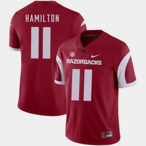 College Football #11 For Men's Cardinal Nike Cobi Hamilton Arkansas Jersey