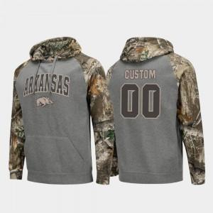 Colosseum Raglan For Men #00 Realtree Camo Charcoal Arkansas Razorbacks Custom Hoodie