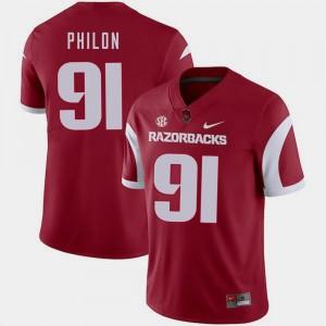 College Football Darius Philon Arkansas Razorbacks Jersey #91 Mens Nike Cardinal