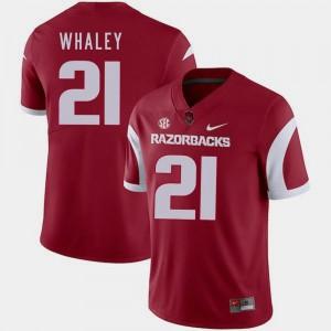 Nike Mens Cardinal #21 Devwah Whaley Arkansas Razorbacks Jersey College Football