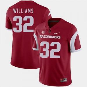 For Men's College Football Nike #32 Cardinal Jonathan Williams Razorbacks Jersey