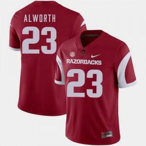 Nike Cardinal #23 Lance Alworth Arkansas Razorbacks Jersey College Football Men