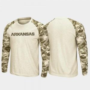 OHT Military Appreciation Mens Arkansas Razorbacks T-Shirt Oatmeal Raglan Long Sleeve Desert Camo
