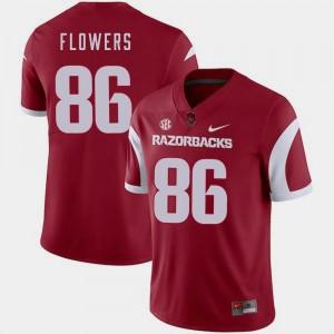 #86 Mens College Football Trey Flowers Arkansas Jersey Nike Cardinal