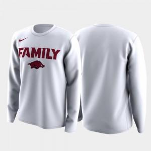 Razorbacks T-Shirt Family on Court White For Men March Madness Legend Basketball Long Sleeve