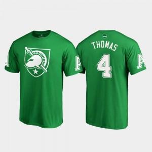 Cam Thomas Army Black Knights T-Shirt St. Patrick's Day Kelly Green #4 White Logo Fanatics Branded Men's