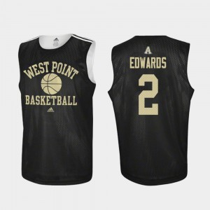 Cayne Edwards United States Military Academy Jersey Black Practice Men's Adidas College Basketball #2